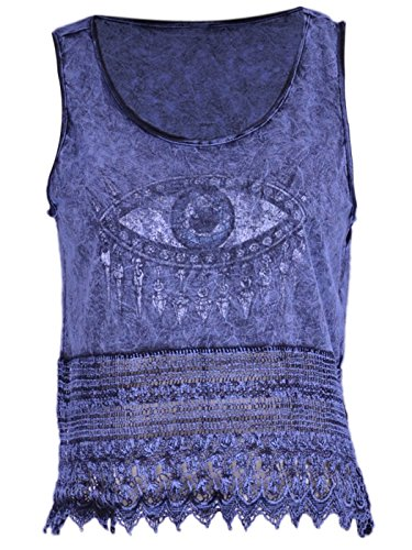 The Classic Brand Blue Evil Eye Symbol Distressed Crochet Detail Crop Tank Top