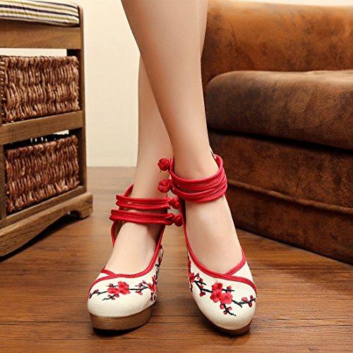 Jtengyao Femmes Chinois Cheville Sangle Brodé Chaussures Casual Marche Chaussures De Sport Rouge