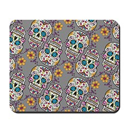[CafePress - Sugar Skull Halloween Grey Mousepad - Non-slip Rubber Mousepad, Gaming Mouse Pad] (Cute Halloween Gifts For Coworkers)