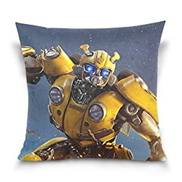 Bumblebee Transformers Movie Cool Warrior Throw Pillow Covers Decorative Pillowcases Double-Sided Printing Soft Pillow Cases for Living Room Sofa Couch Bed Home Decor 18 x 18 Inch 45 x 45 cm