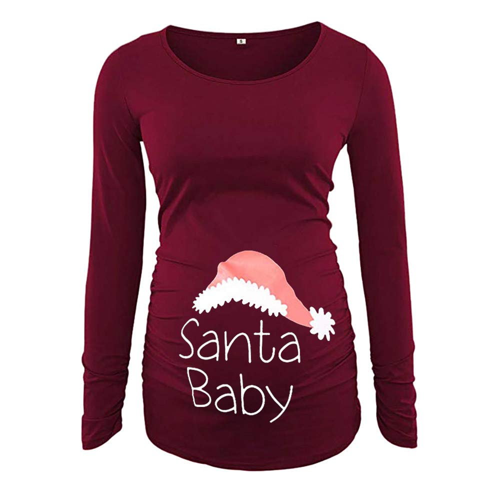 Amyline Happy Mama. Women's T-Shirt Maternity Top,Christmas Side Ruched 3/4 Sleeve Maternity Top Pregnancy Clothes