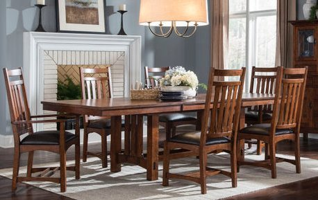 Intercon Oak Park Solid Red Oak Trestle Dining (Mission Trestle Dining Table)