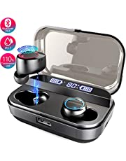 Mailiya Wireless Earbuds, Bluetooth 5.0 Wireless Headphones with 4000mAh Charging Box/110H Playtime/Stereo Sound/Touch Control/Noise Canceling/IPX7 Waterproof, Wireless Earphones Earbuds with Mic