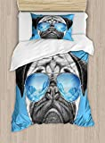 Twin XL Extra Long Bedding Set, Pug Duvet Cover Set, Pug Portrait with Mirror Sunglasses Hand Drawn Illustration of Pet Animal Funny, Include 1 Flat Sheet 1 Fitted Sheet and 2 Pillow Cases