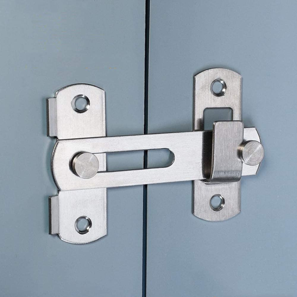 La puerta del pestillo con tapa de acero inoxidable se cierra en la cerradura de la puerta de seguridad del pestillo de la barra para la puerta del animal doméstico, muebles del gabinete, ventana