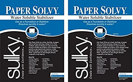 Sulky 8 1//2 x 11-inch Paper Solvy Water Soluble Stabilizer Pack of 12