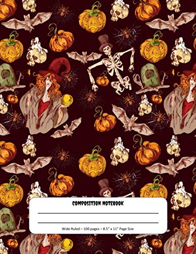 Graveyard Girl Halloween Treat Bags (Composition Notebook: Halloween Witches Theme - Wide Ruled Pages - Perfect for Writing and Drawing at Home or)