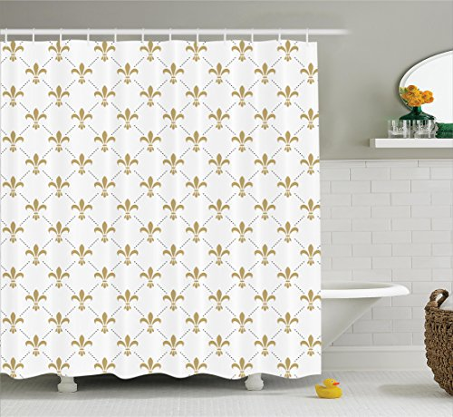 Fleur De Lis Decor Shower Curtain Set By Ambesonne, Fleur De Lis Pattern Vintage Stylized Lily Flower Royal Symbol Artistic Design, Bathroom Accessories, 69W X 70L Inches, White Gold (Fleur De Lis Curtains Shower)