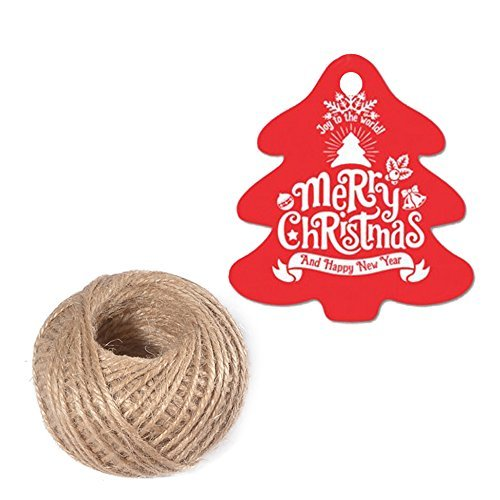 100 PCS Christmas Tree Shaped Gift Tags 5 CM 5.5 CM 'Merry Christmas And Happy New Year' Printed Paper Hang Tags with 100 Feet Natural Jute Twine - Wishes Year New And Christmas Happy
