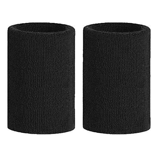 Meta-U 5 Pairs Wholesale Black Soft Thicken Cotton Wristbands
