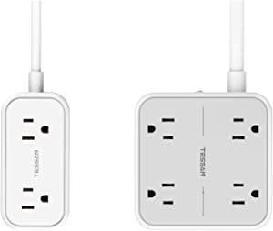 Flat Plug Power Strip with 9.8 FT Extension Cord, TESSAN 4 Widely Spaced Outlets 3 USB Ports Charger, Wall Mountable Compact Size Charging Station, 1250W/10A Long Cord for Indoor