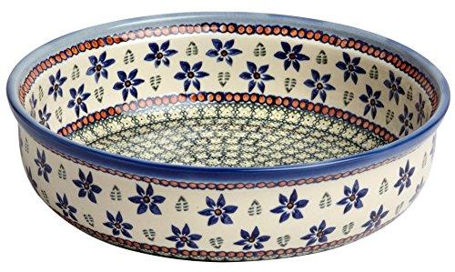 Polish Pottery Blue Green Flowers Ceramic Fruit Bowl or Serving Dish, Handmade Ceramic, 11.25