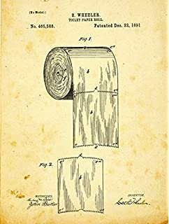 Toilet Paper Patent Drawing Metal Sign Vintage Bath Bathroom Steampunk Industrial