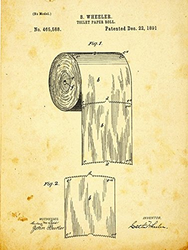 Toilet Paper Patent Drawing Metal Sign, Vintage, Bath, Bathroom, Steampunk, Industrial Décor (Signs Bathroom Vintage)