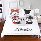 EVDAY 3D Mickey Minnie Mouse Kids Duvet Cover Set 3 Piece Microfiber Polyester White Background Cute Cartoon Bed Cover Set Including 1Duvet Cover,2Pillowcases King Size