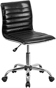 Flash Furniture Low Back Designer Armless Black Ribbed Swivel Task Office Chair