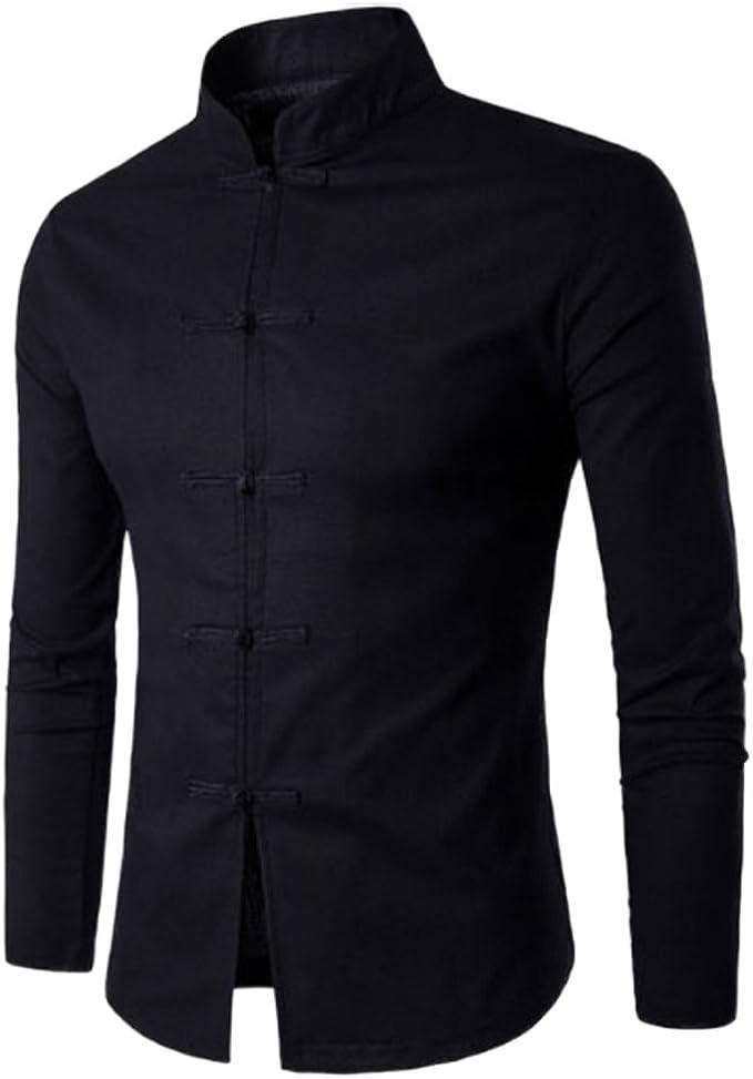 Honghu Mens Regular Button Down Collar Long Sleeve Shirt