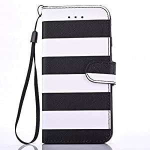 iphone x 5.8 inch case 2017 stripe PU Leather Wallet Flip Protective Case Cover with Card Slots Leather Wallet Case Designed Classic Design With Built In Card Slot (black)