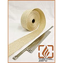 Tan Natural High Temperature Header Exhaust Pipe Insulation Wrap Kit: 1 Roll 2 INCH WIDE X 25 FEET LONG with Stainless Steel Zip Ties Kit - Thermal Zero - TN116225TK