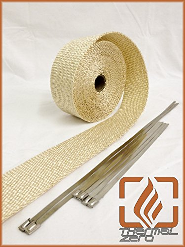 Tan Natural High Temperature Header Exhaust Pipe Insulation Wrap Kit: 1 Roll 2 INCH WIDE X 25 FEET LONG with Stainless Steel Zip Ties Kit - Thermal Zero - - Exhaust Wrap Tan