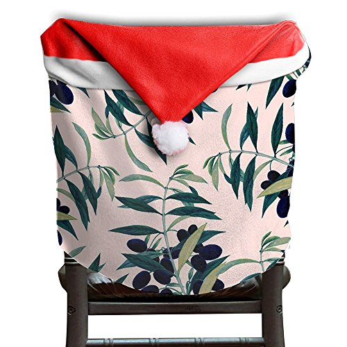 Cool Unique Olive Branch Designer Santa Hat Chair Covers, Santa Clause Red Hat Chair Back Covers Kitchen Chair Covers Sets For Christmas Holiday Festive Decor