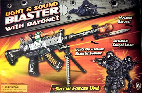 Battery Operated Boys Fire Power 24 Inch Light Up Toy Machine Gun W/Scope and Bayonet | Flashing Lights and Sound Effects | Toy Gun Popular With Kids by MEIZHI