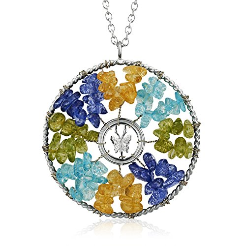 Silver-Plated Zinc Multiple (Multi) Colored Crystal Glass Beads Butterfly Pendant Necklace 30 inches