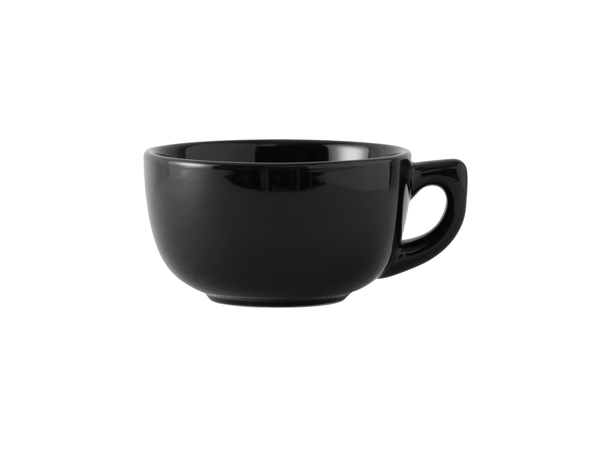 Tuxton BBF-1402 Vitrified China Cappuccino Cup, 14 oz, Black (Pack of 24), Oven-Microwave-Pressure Cooker Safe; Freezer to Oven Safe