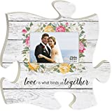Love is What Binds Us Together Whitewashed Crackle 12 x 12 Wood Wall Art Puzzle Piece 4x6 Frame
