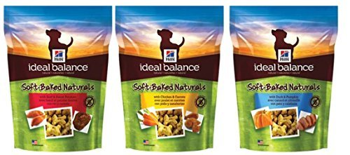 Baked Treats - Hill's Ideal Balance Soft-Baked Naturals Adult Dog Treat 3 Flavor Variety Bundle: (1) Soft-Baked Naturals With Beef & Sweet Potatoes, (1) Soft-Baked Naturals With Chicken & Carrots, and (1) Soft-Baked Naturals With Duck & Pumpkin, 8 Oz. Ea. (3 Bogs Total)
