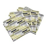 Roostery Subway Tiles Linen Cotton Dinner Napkins Neutral Subway by Pearl&Phire Set of 4 Cotton Dinner Napkins Made