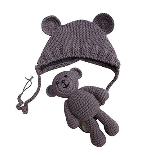 YeahiBaby Accesorios de fotografía de bebé Recién nacido Sombrero de oso de punto lindo con gorra de juguete de ganchillo Niños de osos Gorro de ...