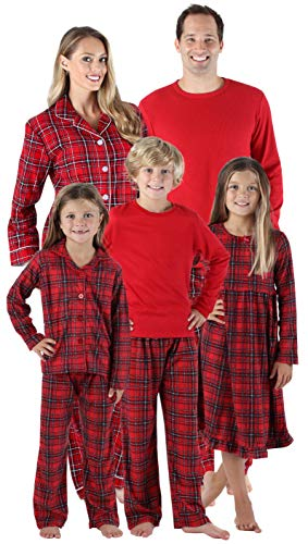 SleepytimePjs Holiday Family Matching Red Plaid Flannel Thermal Pajamas PJs Sets for The Family Women's Lounge Set (STM-3050-W-1385-2X)