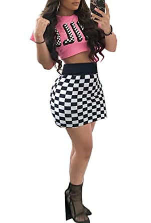 3d7b26b05 Adogirl Womens Sexy 2 Piece Outfits Short Sleeve Crop Top and High Waist  Checked Mini Pencil Skirt Set at Amazon Women's Clothing store: