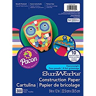 "SunWorks Construction Paper, 10 Assorted Colors, 9"" x 12"", 300 Sheets"