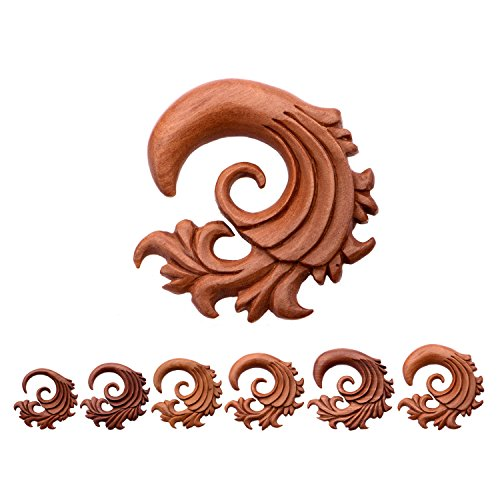 Hand Carved Red Saba Wood Filigree Wave Hangers - Sold as a Pair - Available in Sizes from 4G (5mm) to 1/2