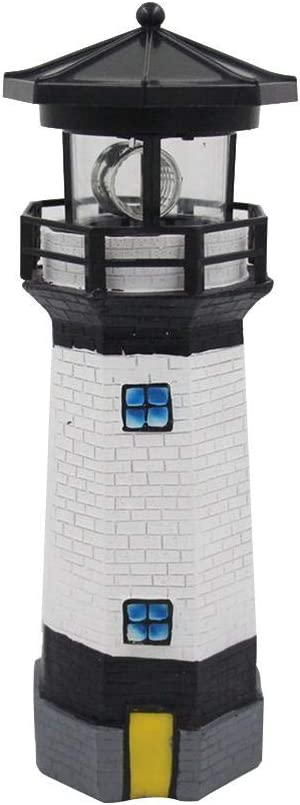 Solar Lighthouse with Rotating Lamp, Waterproof Led Solar Powered Lighthouse, Solar Revolving LED Lighthouse Garden Yard Lawn Lamp for Patio Backyard Decor