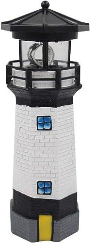 N C Light Lighthouse,Solar Powered Lighthouse,Statue Rotating LED Lawn Lamp,Home Decoration Solar Landscape Lights Outdoor Sensor Path IP65 Waterproof Garden Stake Red Black 27cm