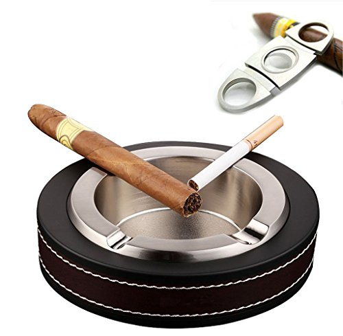 Cigar Ashtray, Stainless Steel Tabletop Cigarette Ashtray for Outdoor and Indoor Use, Leather Ash Tray for Men Women (Germany Ashtray)