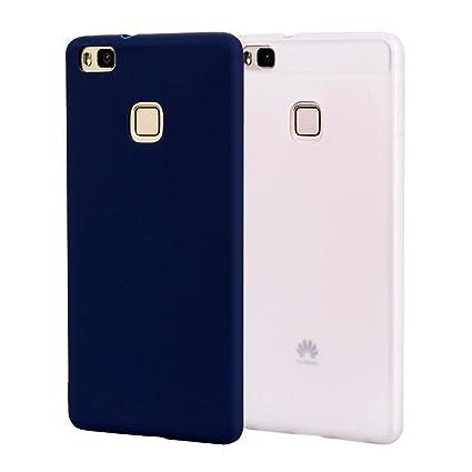 Funda HuaWei P9 Lite, Carcasa HuaWei P9 Lite Silicona Gel, OUJD Mate Case Ultra Delgado TPU Goma Flexible Cover para HuaWei P9 Lite - Azul + blanco