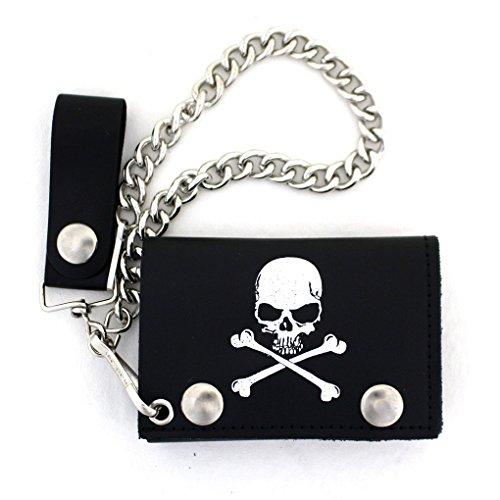 Leather Rock Tri Fold Wallet (Men's Biker Black Leather Wallet Skull & Crossbones with Chain Trifold)
