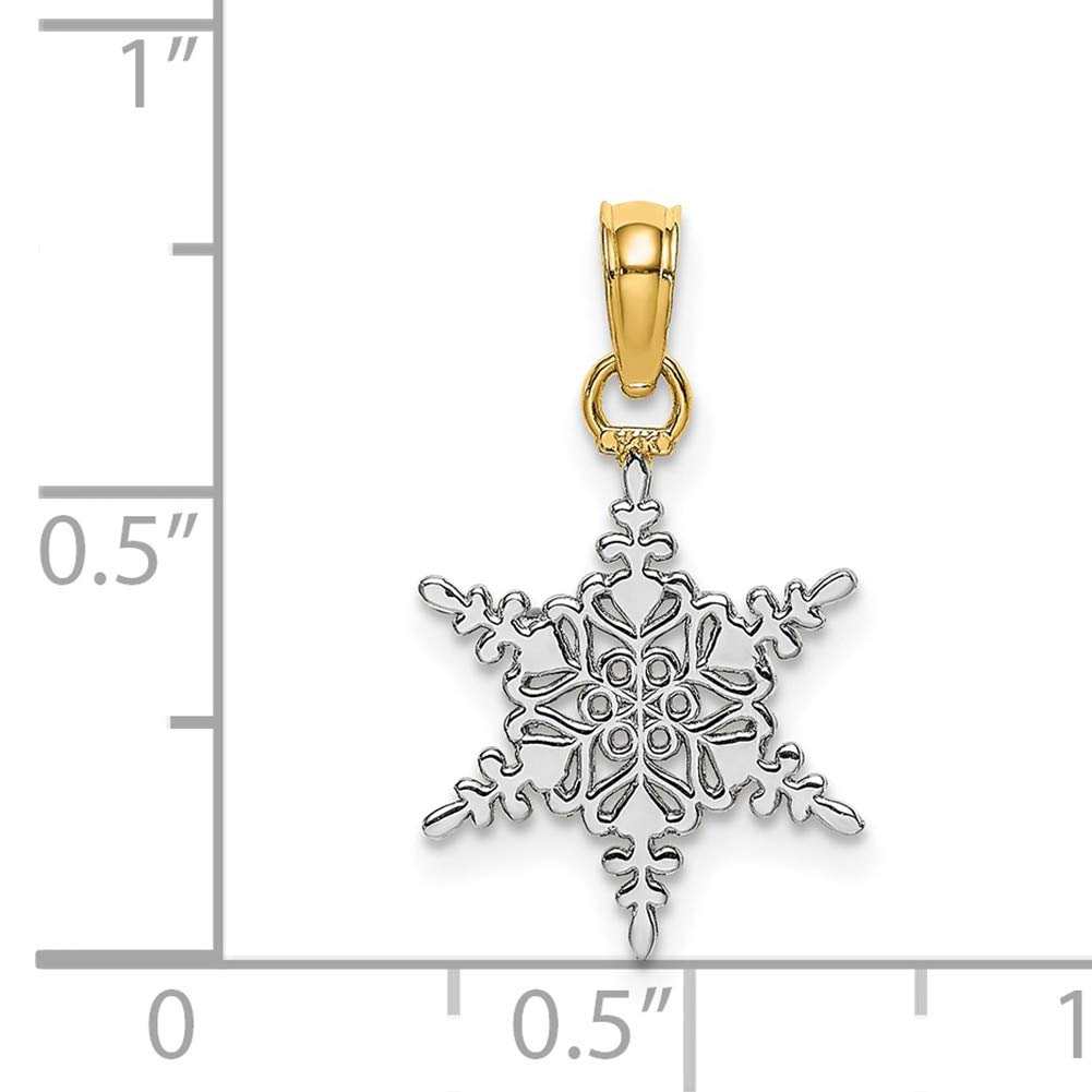 Lex /& Lu 14k Two-tone Gold Snowflake Pendant