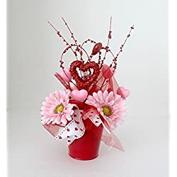Valentine Flower Arrangement, floral arrangement, gift for her, Valentine's Day decoration, home decor