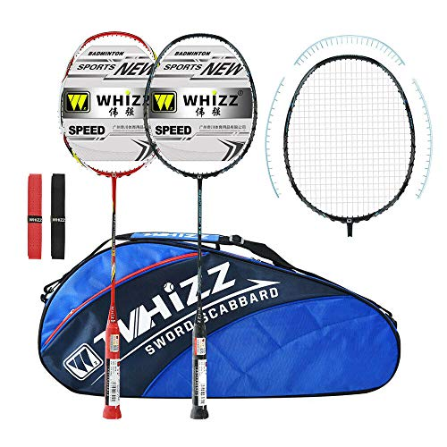 WHIZZ Graphite Badminton Racket Set, Upgraded Version with Grommet Strip