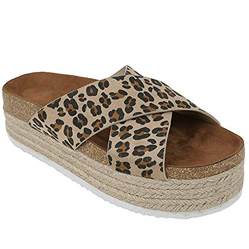 Yu Li Women's Platform Espadrilles Criss Cross Slide-on Open Toe Faux Leather Studded Summer Sandals (7 M US, Leopard)