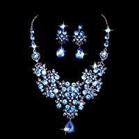 Meolin Bridal Crystal Jewelry Sets Earrings Necklace Wedding Sets Blue