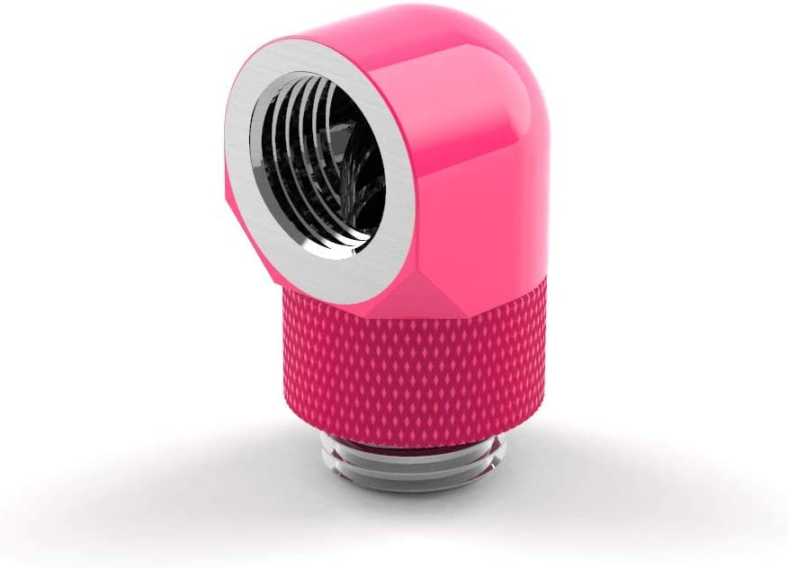 UV Pink PrimoChill Male to Female G1//4 90 Degree Rotary Elbow Fitting