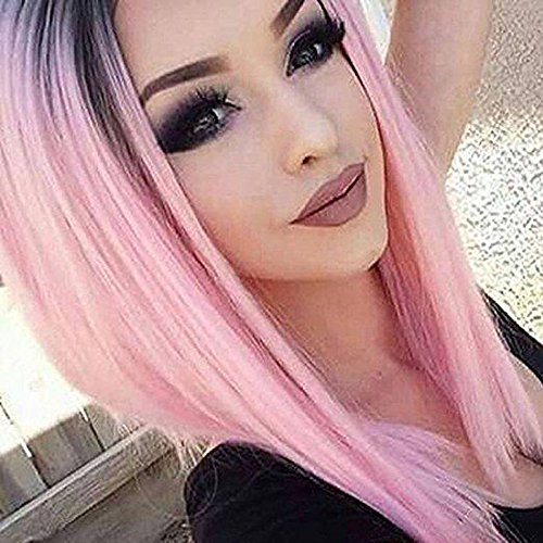 AISI HAIR Ombre Pink Bob Wigs Straight Short Length Wigs for Women Middle Part Wigs Dark Roots Heat Resistant Synthetic Wigs
