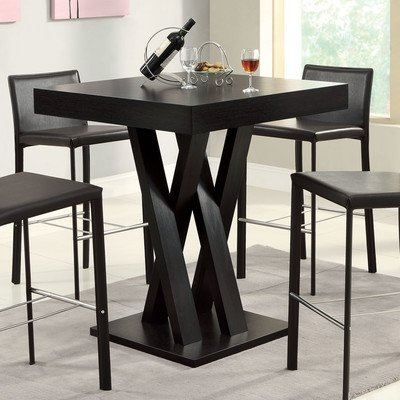 "Modern Millennium Park 36″ Pub Table ( 4 Person / Stools are sold separately) Made w MDF/ Manufactured Wood in Cappuccino 36"" H x 35.5"" L x 35.5"" W For Sale"
