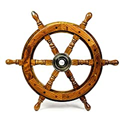Deluxe Pirate's Handcrafted Premium Nautical Ship Wheels With A Northern Brass Cap | Home Wall Decor Sculpture Accent | Nagina International (36 Inches, Rosewood)